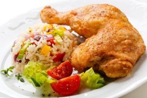 Цыпленок с овощами и рисом